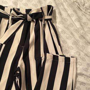 H&M Pinstriped Paper Bag Pants - Size 10